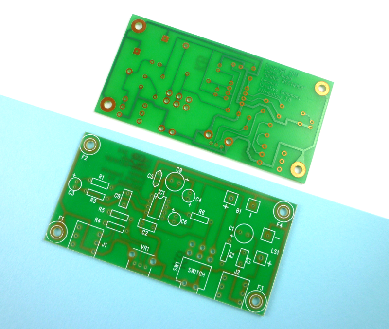 """Last year's board (not designed by me!). A pretty standard, square, single-layer PCB. I was really happy that Calrec approached me to design something """"different"""" this year."""