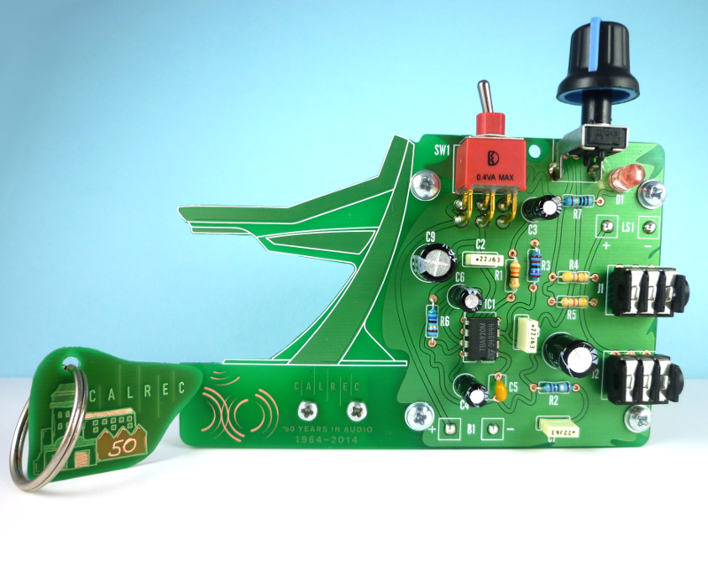 Assembled board, front view.