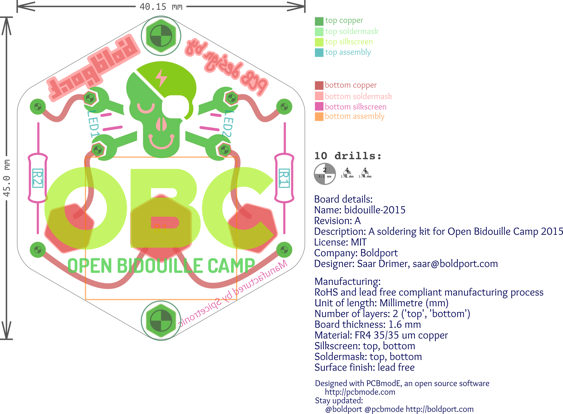 The design's view from within Inkscape/PCBmodE