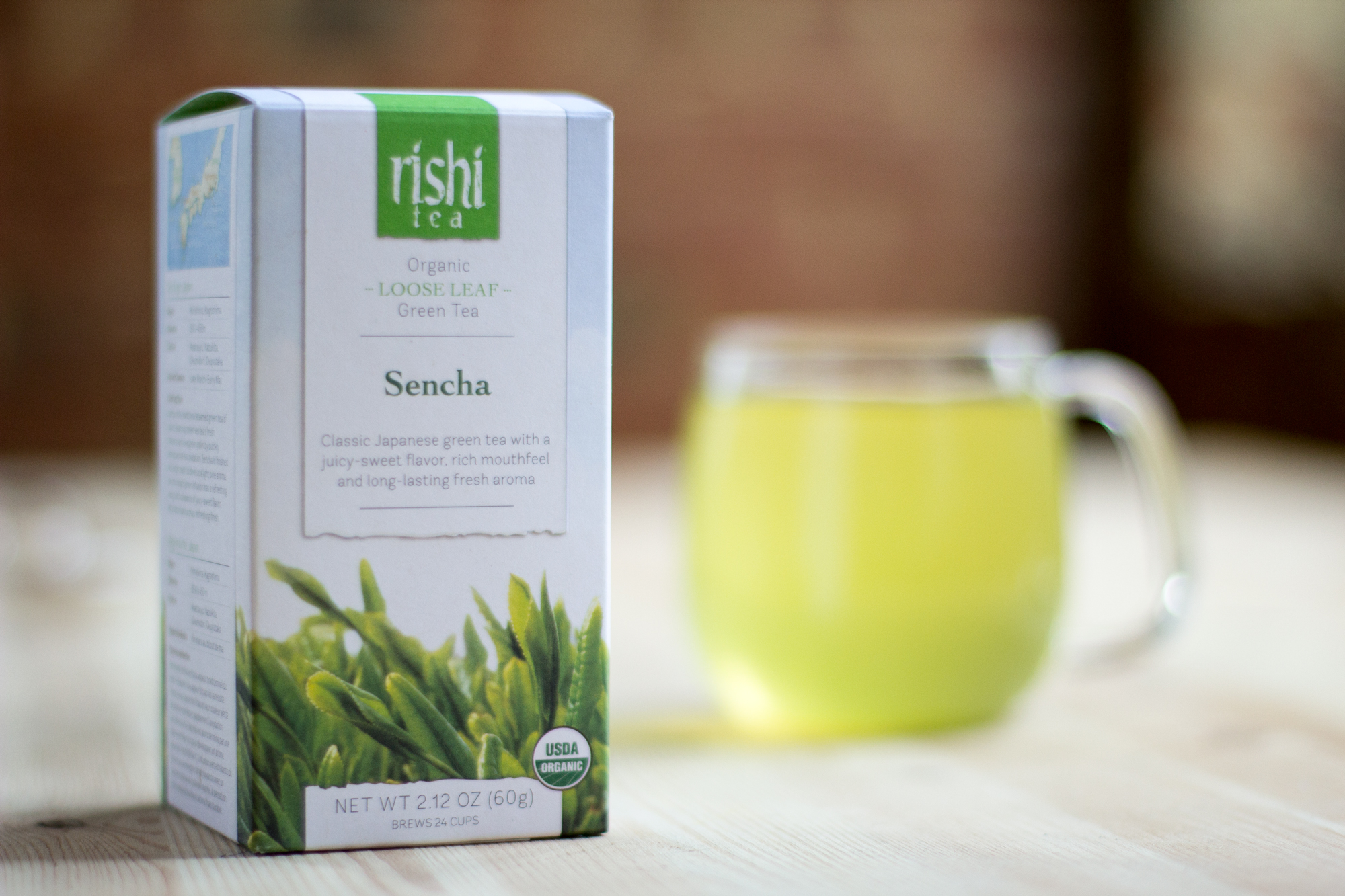 We enjoy  Rishi's Green Tea.