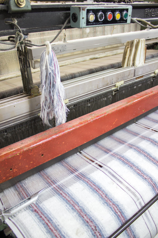 Our  White 40 Stripe towel  in progress...