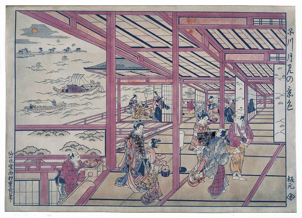 Moonviewing at Shinagawa by Nishimura, Shigenaga, woodcut, 1726. Found  here .