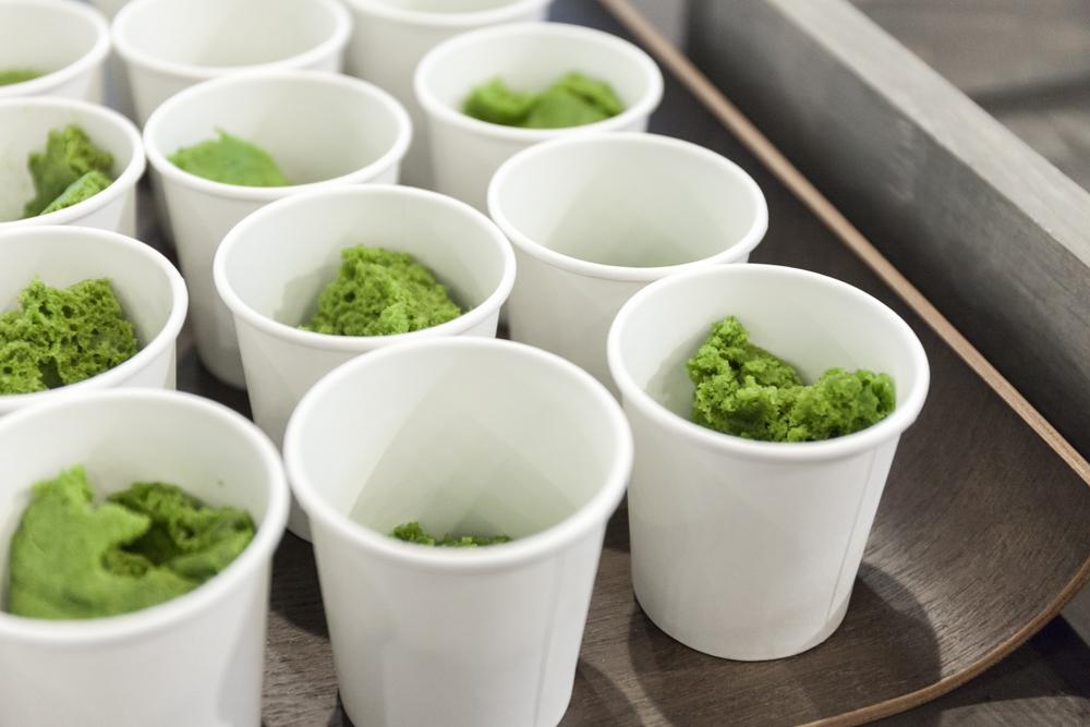 Bright-green samples of matcha mug cake.