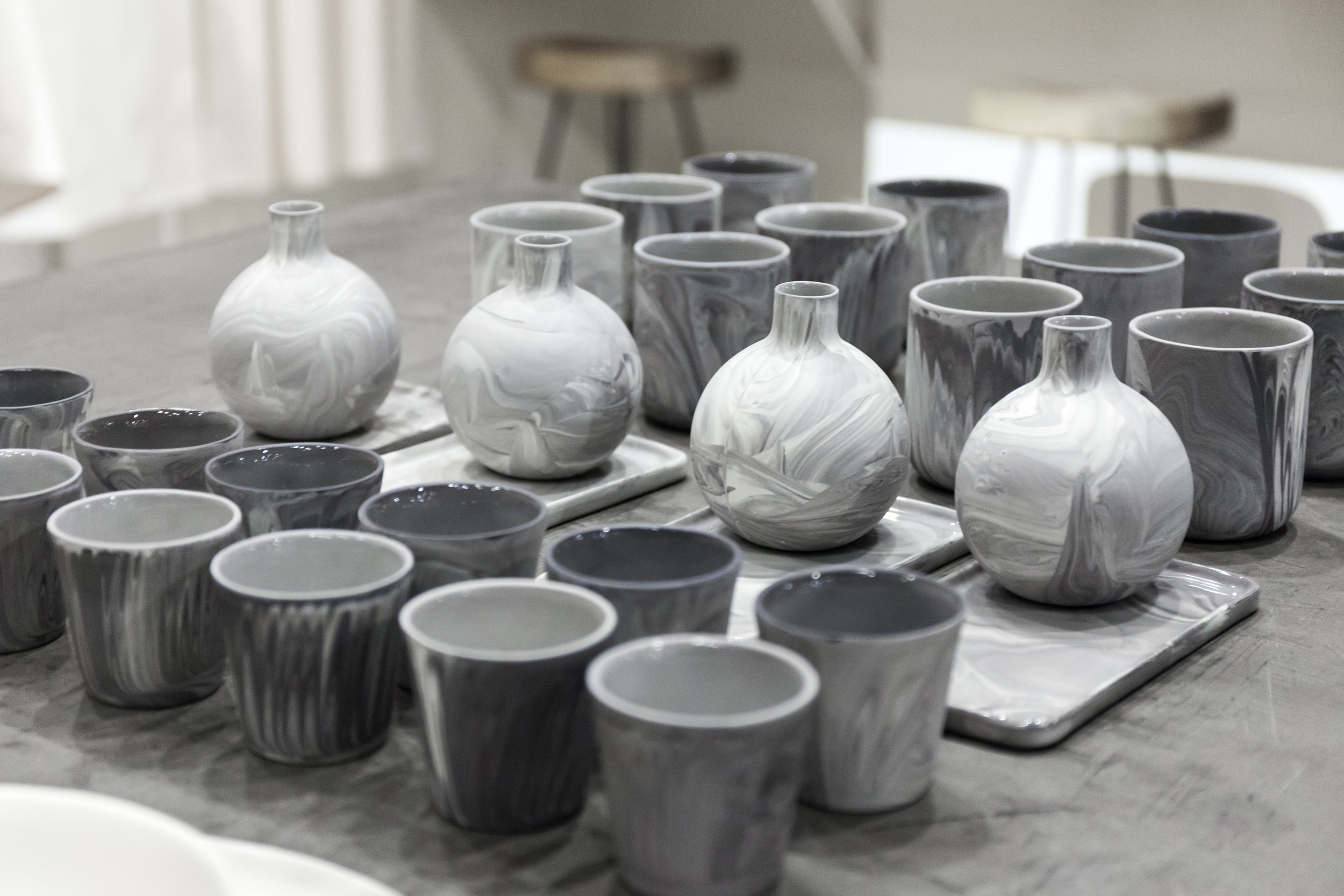 The Rikumo x Felt + Fat  collection  (pictured here) includes cups, tumblers, vases and decorative trays, all in Felt + Fat's signature marbled finish and a Rikumo-approved neutral palette.