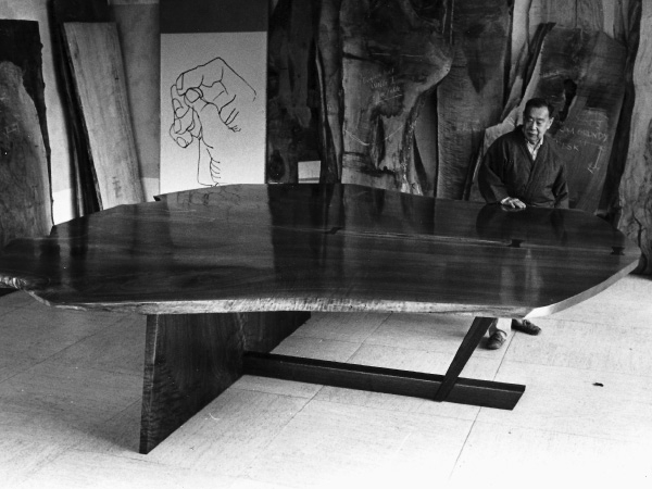 George Nakashima admiring the finished Altar in the Arts Building on the Nakashima compound before sending it to New York.