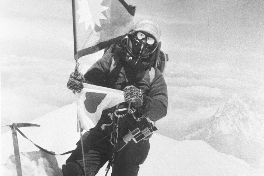 Junko Tabei after reaching the top of Mount Everest