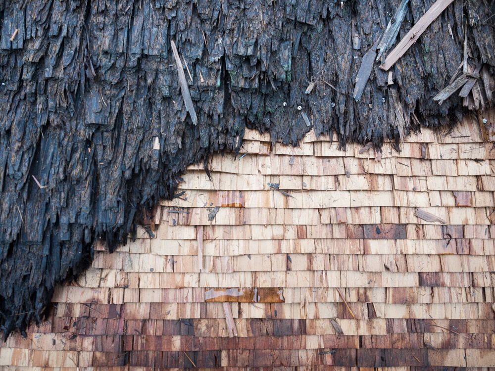 Old vs. new roofing materials.