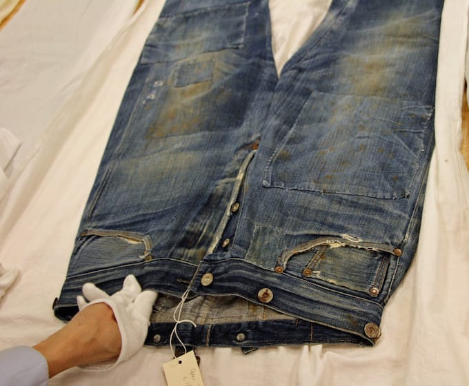 A pair of Levi's produced in 1879. Image via  Kate Sommers-Dawes / Mashable