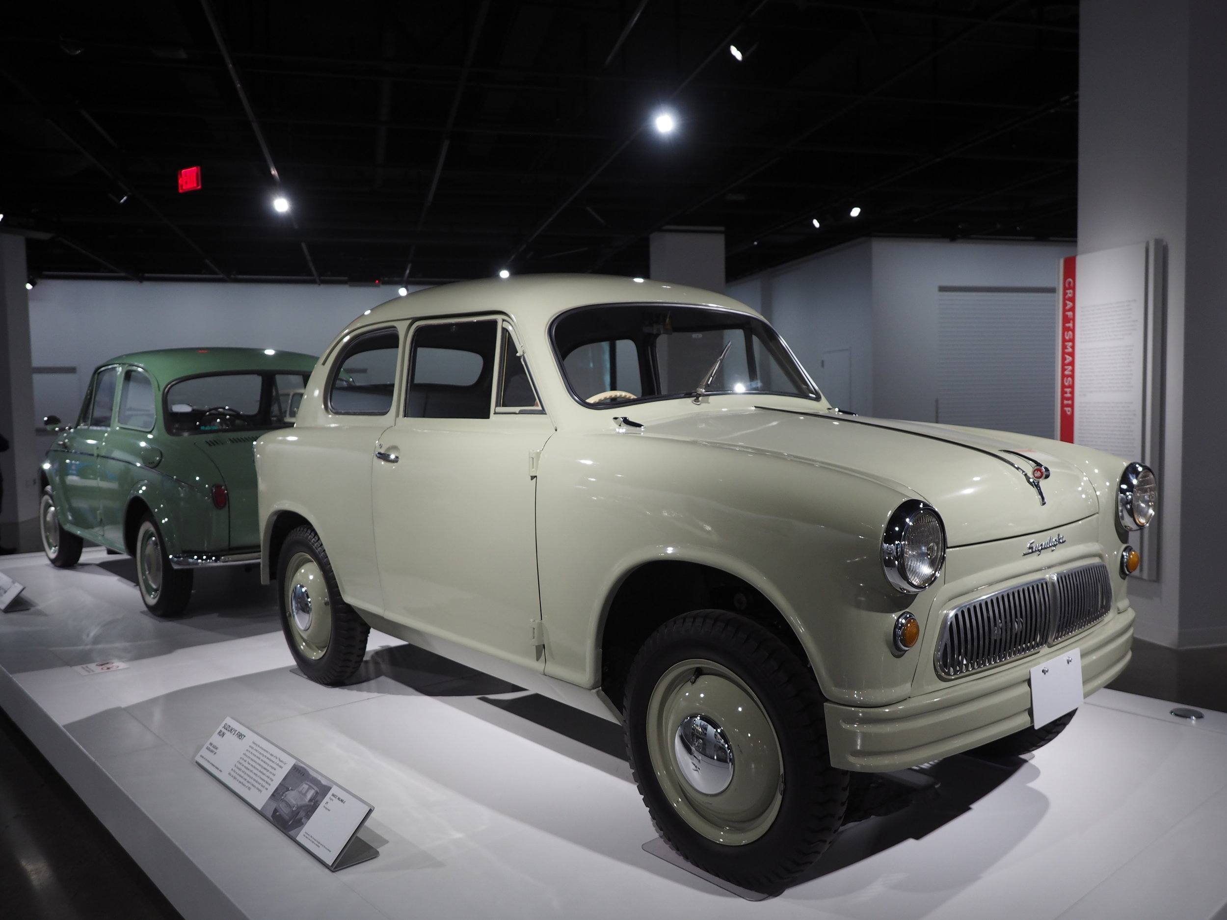 "1955 Suzuki Suzulight SF - The first car made under Japan's industry-changing 360cc ""Kei"" (light) car specification of 1955. This model featured a front-engine, front-wheel-drive layout and double wishbone coil-spring suspension."