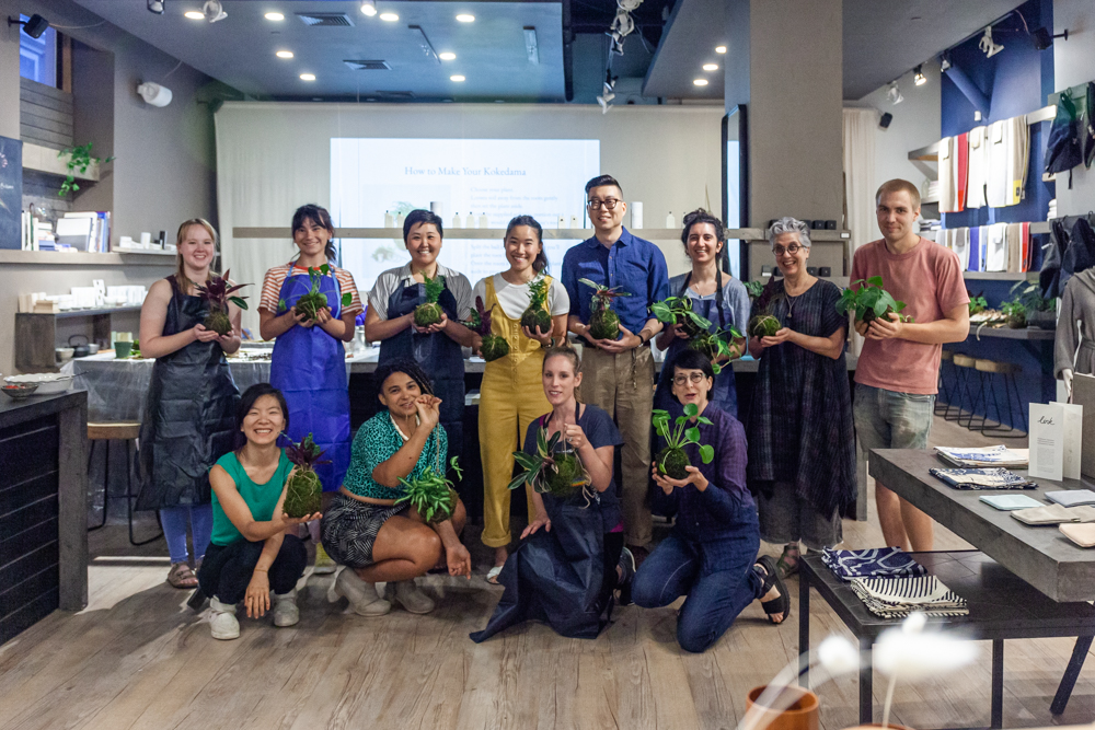Group photo of our Kokedama experts.