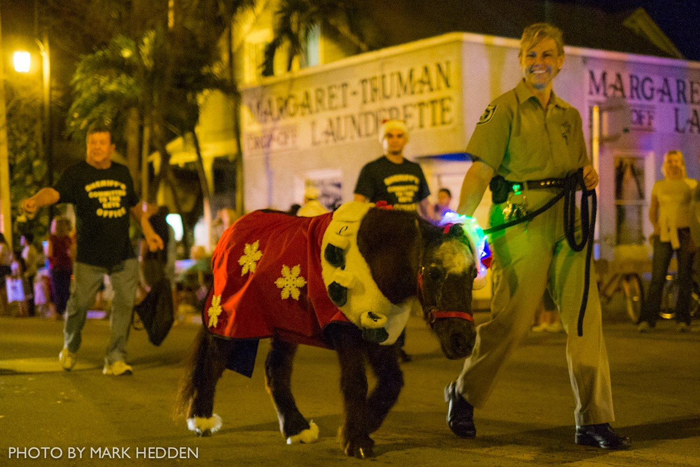 Monroe County Sheriff's Office Farmer Jeanne Selander leads a pony in the parade.