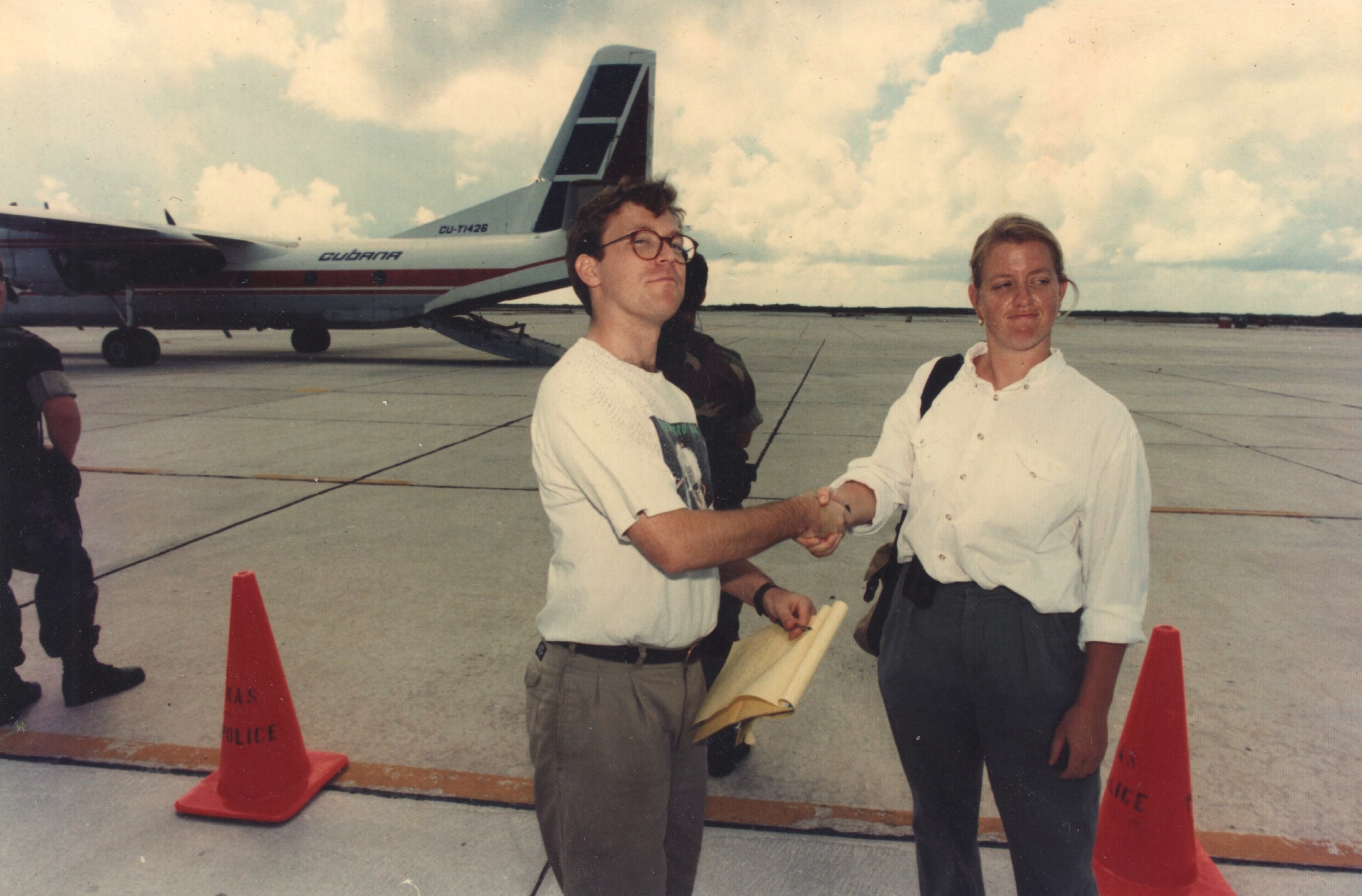 Vernon Silver, then of the Key West Citizen, now reporting for Bloomberg in Rome, and I do a grip-and-grin in front of the plane that that Cubans brought over to retrieve aMiG that had been used by a defecting pilot. Possible photo credit: Jose Cabaleiro?
