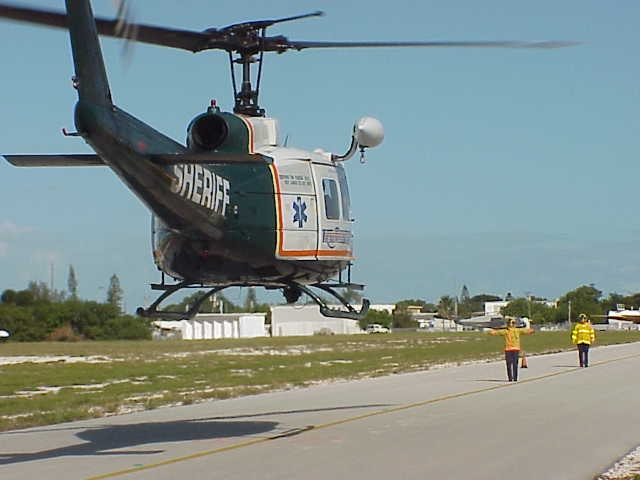 Trauma Star, the county-owned medical ambulance helicopter, comes in for a landing. Photo by the Monroe County Sheriff's Office.