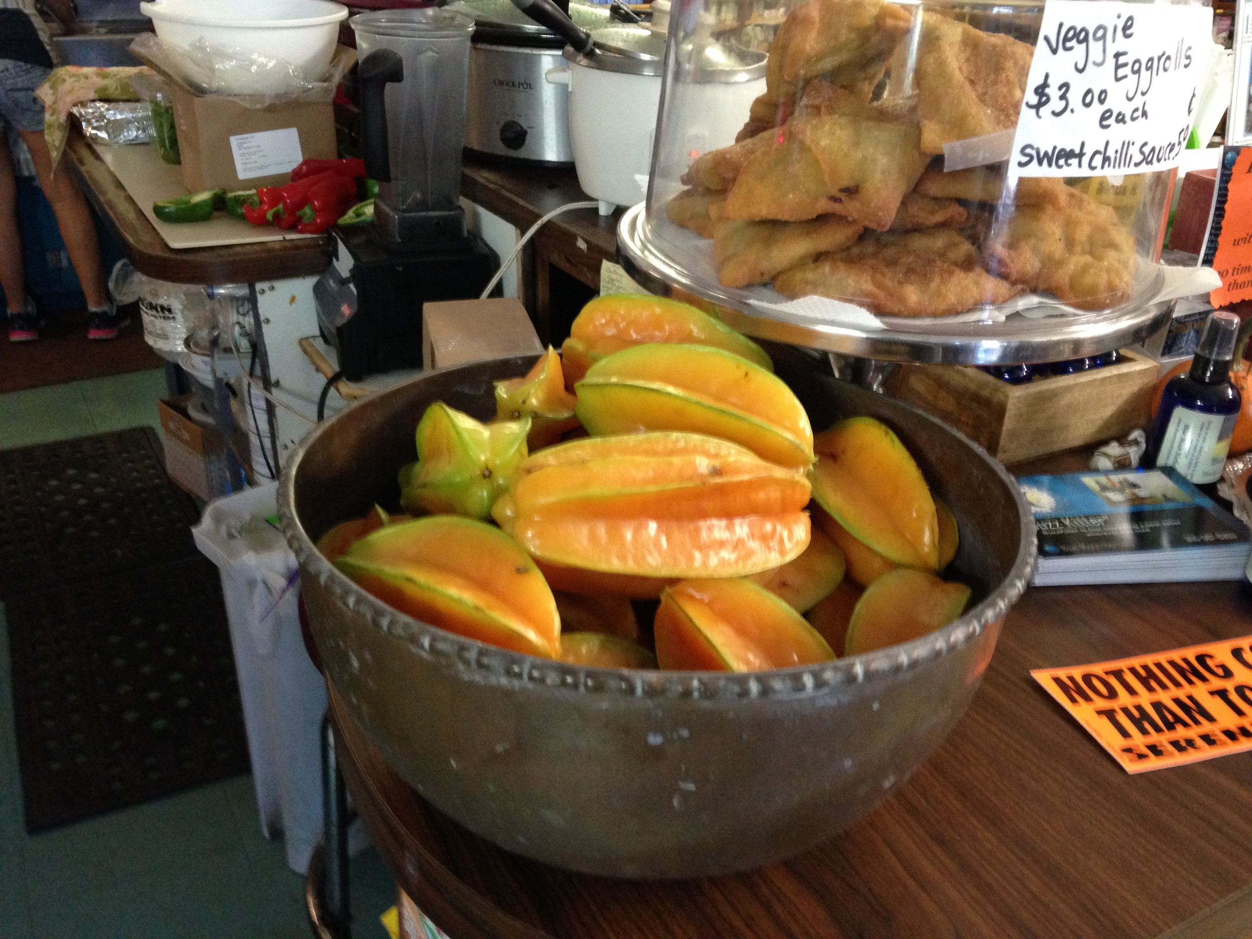 Carambola — or star fruit — are sold at Good Food Conspiracy, the health food store on Big Pine Key. Photo by Nancy Klingener.