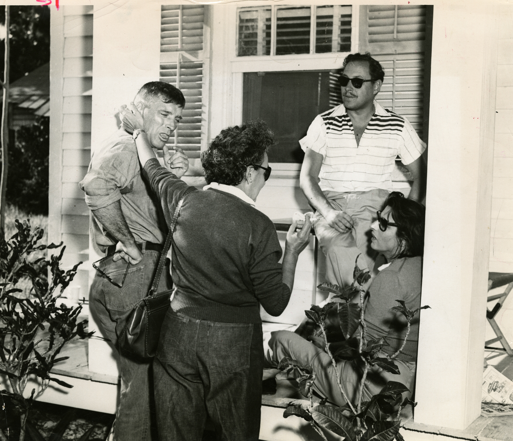 Burt Lancaster, left, Tennessee Williams, center, and Anna Magnani, right, in Key West during the filming of The Rose Tattoo. Photo from the Monroe County Public Library.