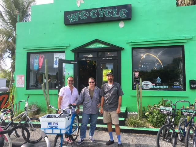 Key West Bicycle/Pedestrian/Transit coordinator Chris Hamilton, left, and We Cycle owner Evan Haskell, right, before Chris and I set off on our ride around Key West. And yeah, that's my awesome new News Cycle. Photo from Bike Walk Key West/Facebook.