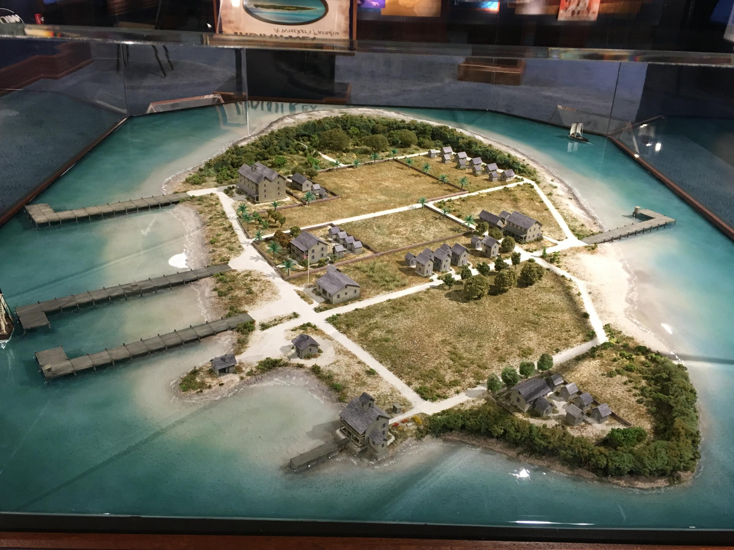 The new exhibit at the Florida Keys History and Discovery Center in Islamorada includes a 3-D model that shows Indian Key in its early 19th century heyday. Photo by Nancy Klingener.