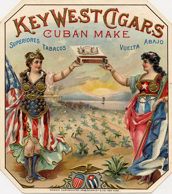 The cigar industry made Key West rich — and Cuban — in the late 19th and early 20th centuries. There are a lot of beautiful images from the cigar labels of that era. This is one of my favorites. From the Dewolfe & Wood Collection of the Monroe County Public Library.