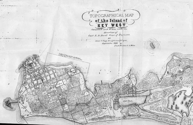 Key West in 1861, shortly after the time that William Hackley lived on the island and kept a diary. From the Monroe County Public Library collection.