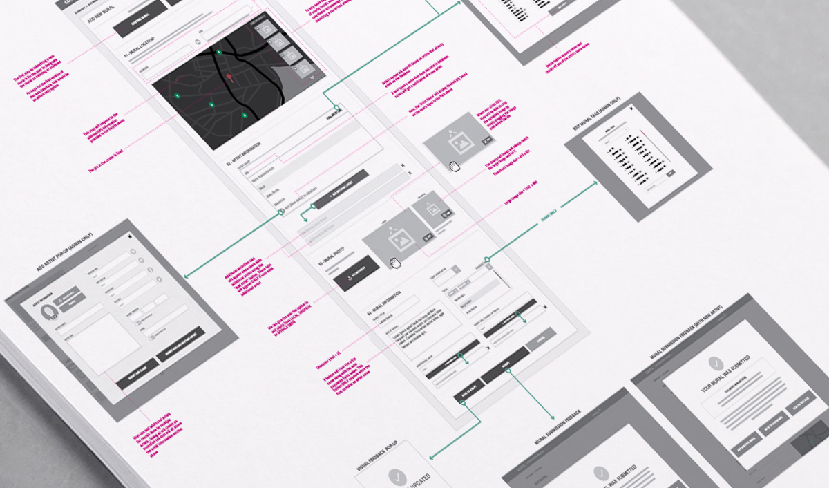 Wireframes for a web interface that will allow user to upload murals into app.
