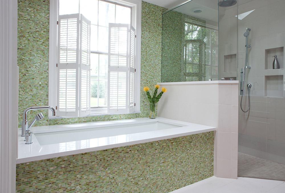 Master bathroom/glass tile