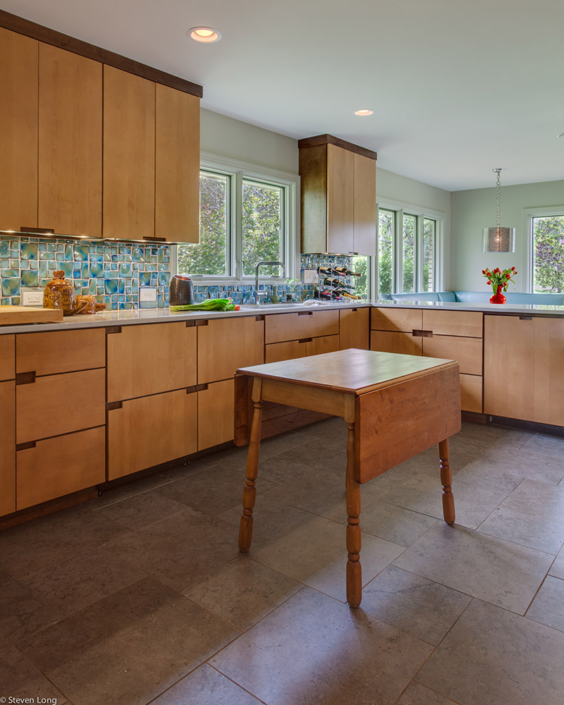 Custom maple cabinets/Ceramic tile flooring