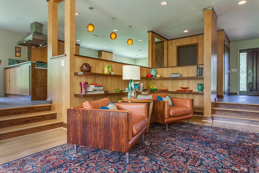 Custom maple paneling/Alderwood floating shelves/maple & alderwood steps