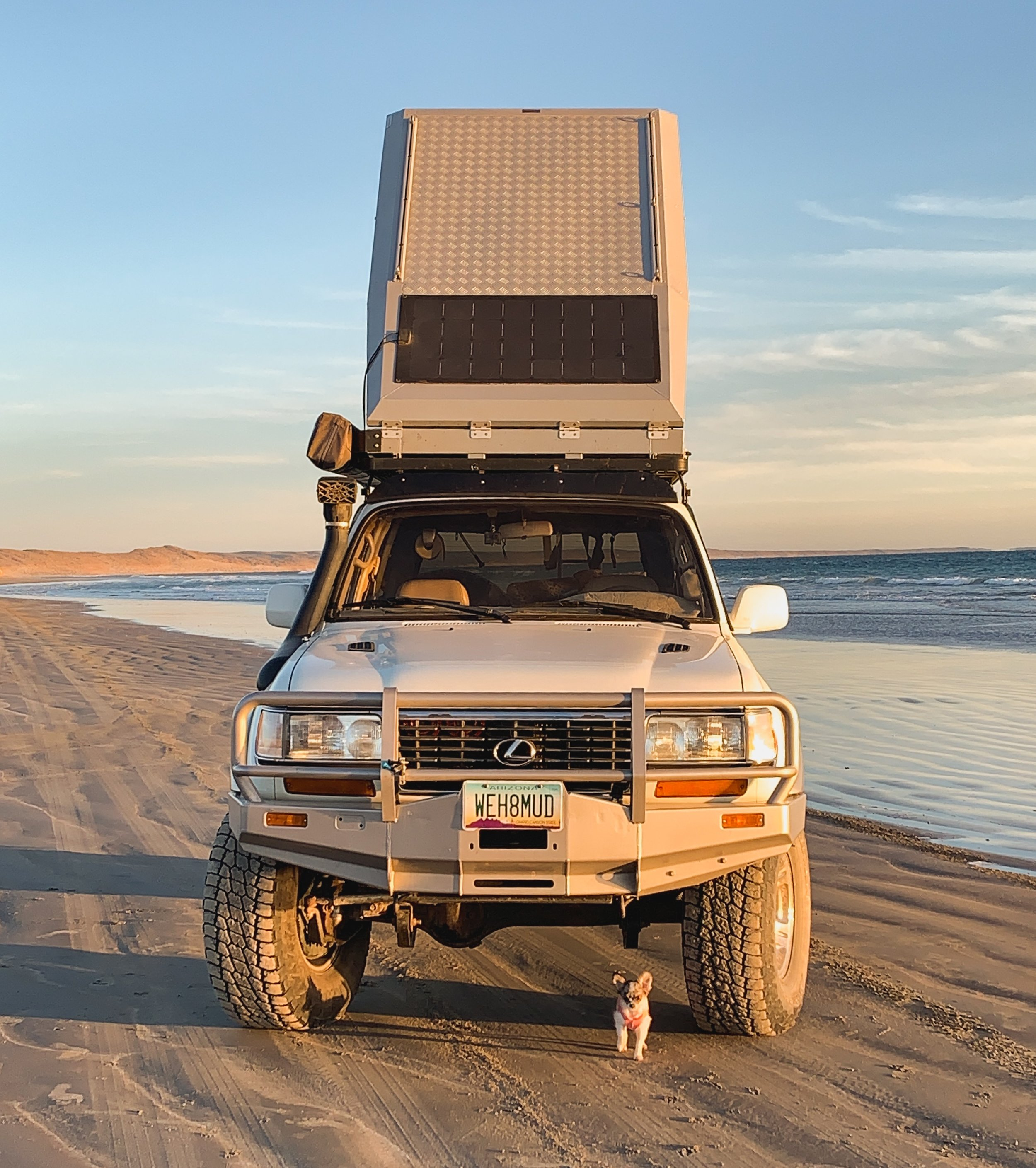This 1997 LX450 has been supercharged, built for, and driven, over 80k miles of extended travel through North, Central & Latin America. Although Monica & Jeff have driven more extensively in other expedition vehicles, their trusty Toyota has remained the favorite for both longer trips into Mexico or local Arizona 4x4 trails near their home. Let them know if you want do a trail together! Build list can be found at http://www.overlandtheworld.com/lx450-1997-supercharged-w-locker/