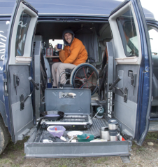 Kirk is a quadriplegic who has outfitted a Ford Transit 4x4 and is journeying from Boulder to Ushuaia.