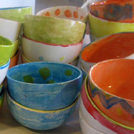 Brushstrokes works with local schools to create all the bowls for the Alameda County Food Bank Empty Bowls Fundraiser