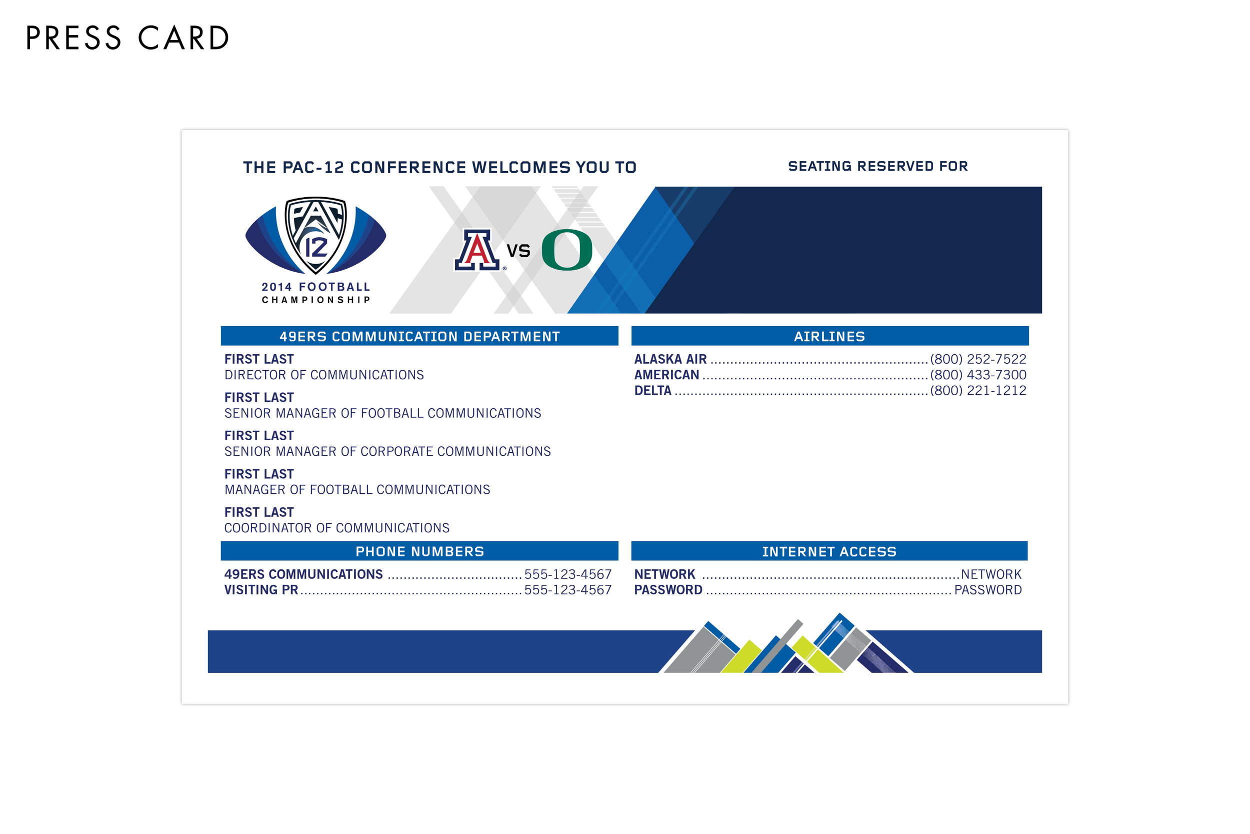Pac-12 Football Championship Game Press Card