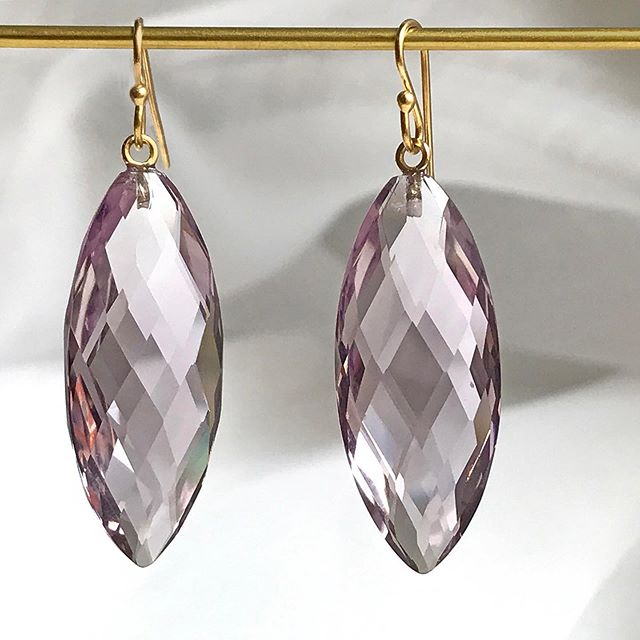 18K Lavender Faceted Amethyst Navette Drop Earrings available at @eganday