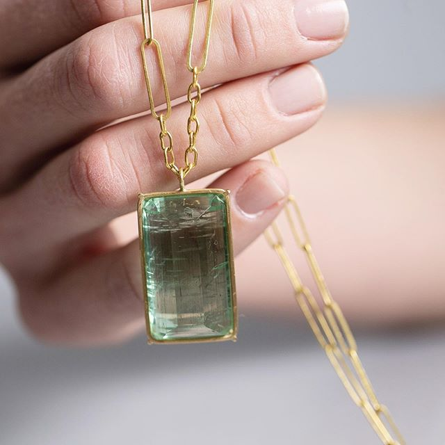 Green beryl emerald cut necklace available at @twentytwohome