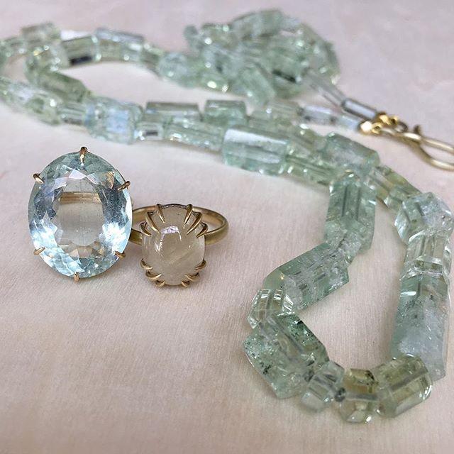 "Regram @meekafinejewelry 💭 ""Serene ocean hues. Rosanne Pugliese beryl ring, Hannah Blount flaxen sapphire, Judi Powers beryl crystal necklace"""