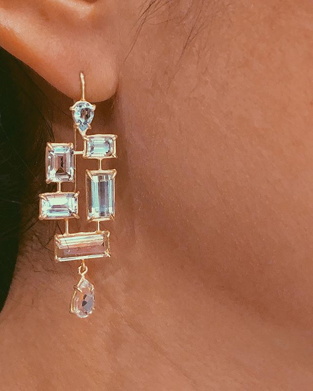 Fresh, new Aquamarine mosaic earrings shown on the lovely Toyo ✨ Available @augustlosangeles