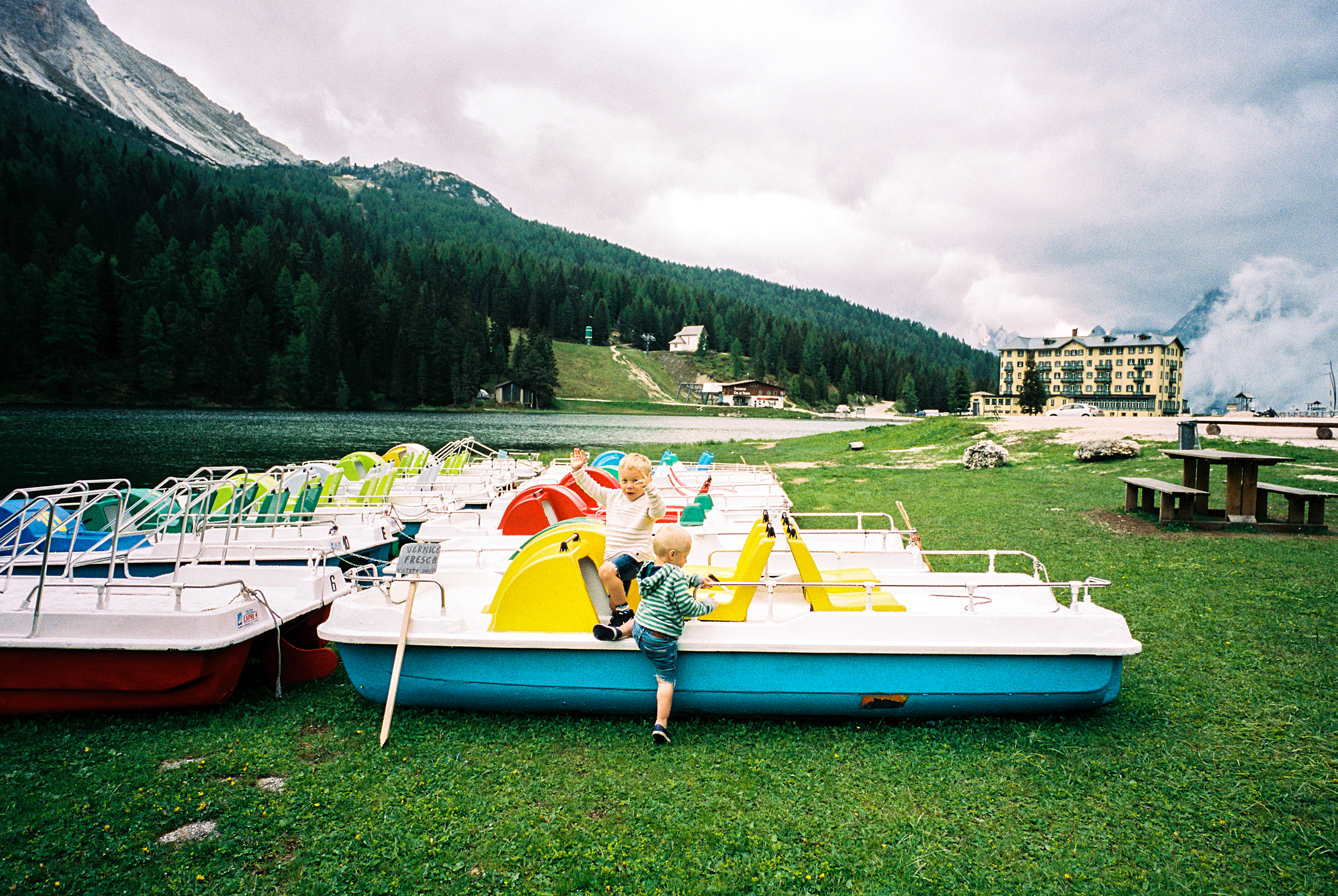 Near the top of the Dolomites.  Truman saw these boats and there was no turning back.