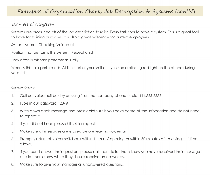 An example of a one page system you could prepare before you hire a VA or employee.