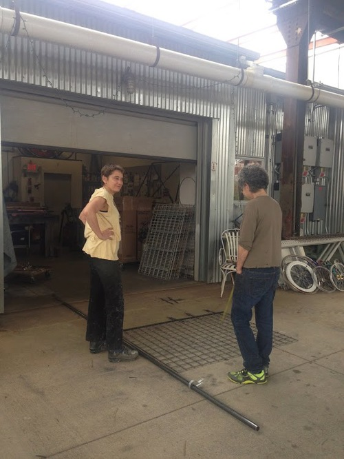 Working on the fence with Monica Shinn at the Steel Yard