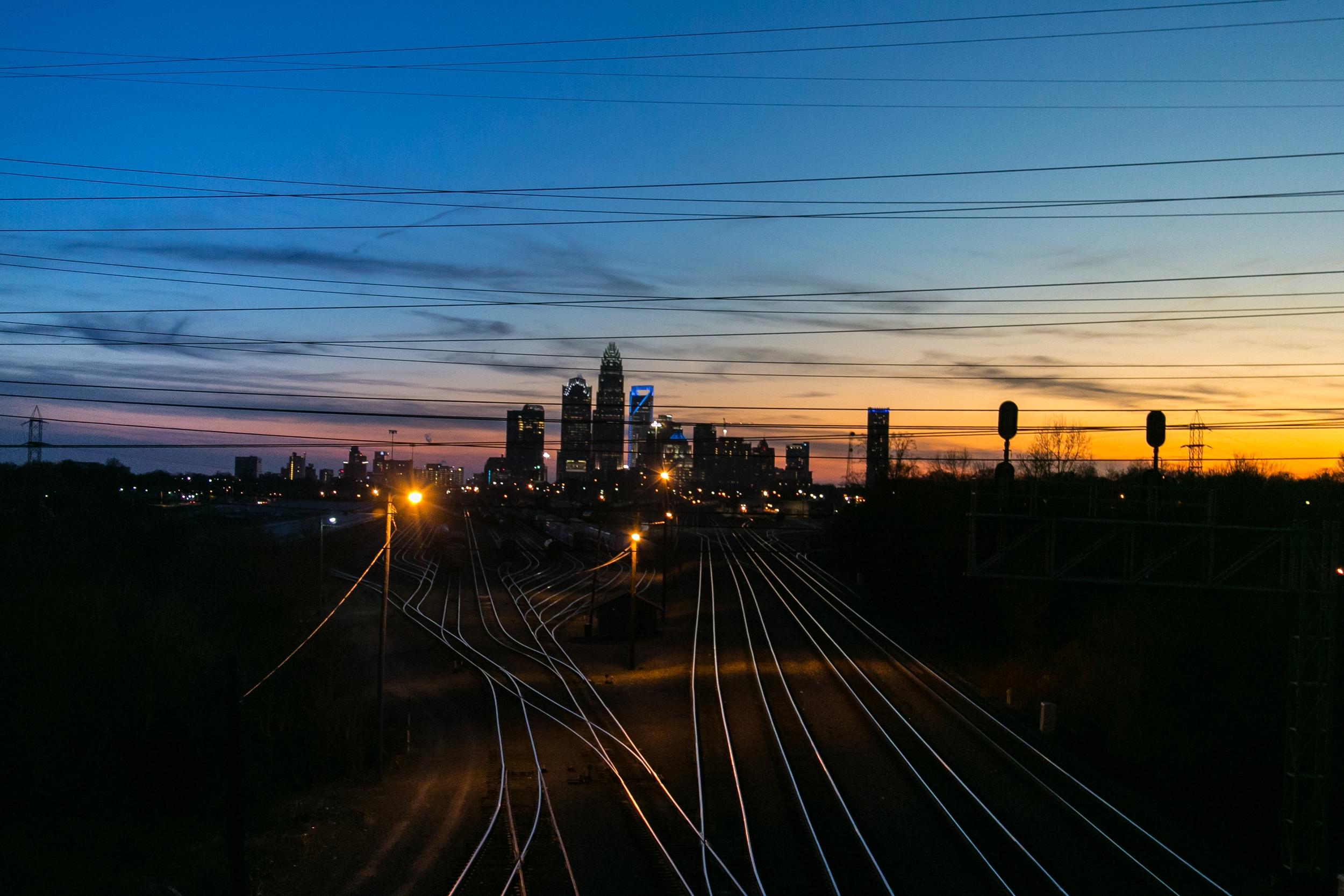 Charlotte Sunset on the Tracks