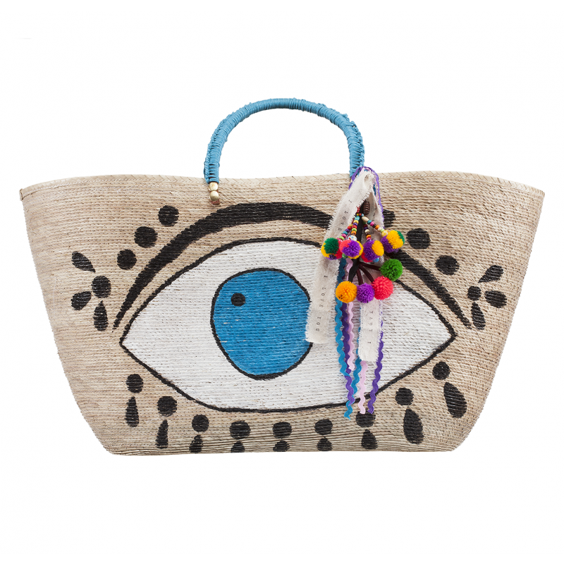 AGUA D' MAR GREEN EVIL EYE TOTE