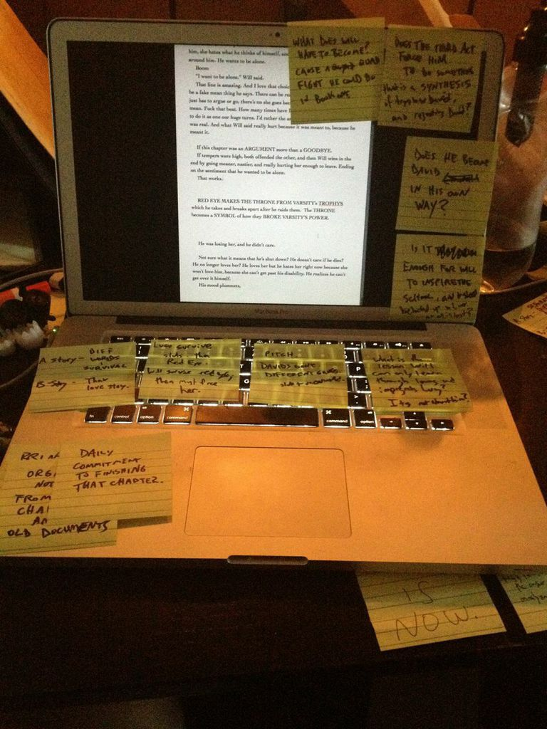 Writing requires lots of post it notes.