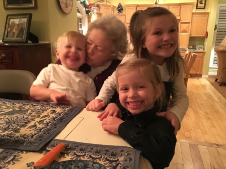 Nanny, with Henrik, Ella, and Anna at a Sunday dinner.
