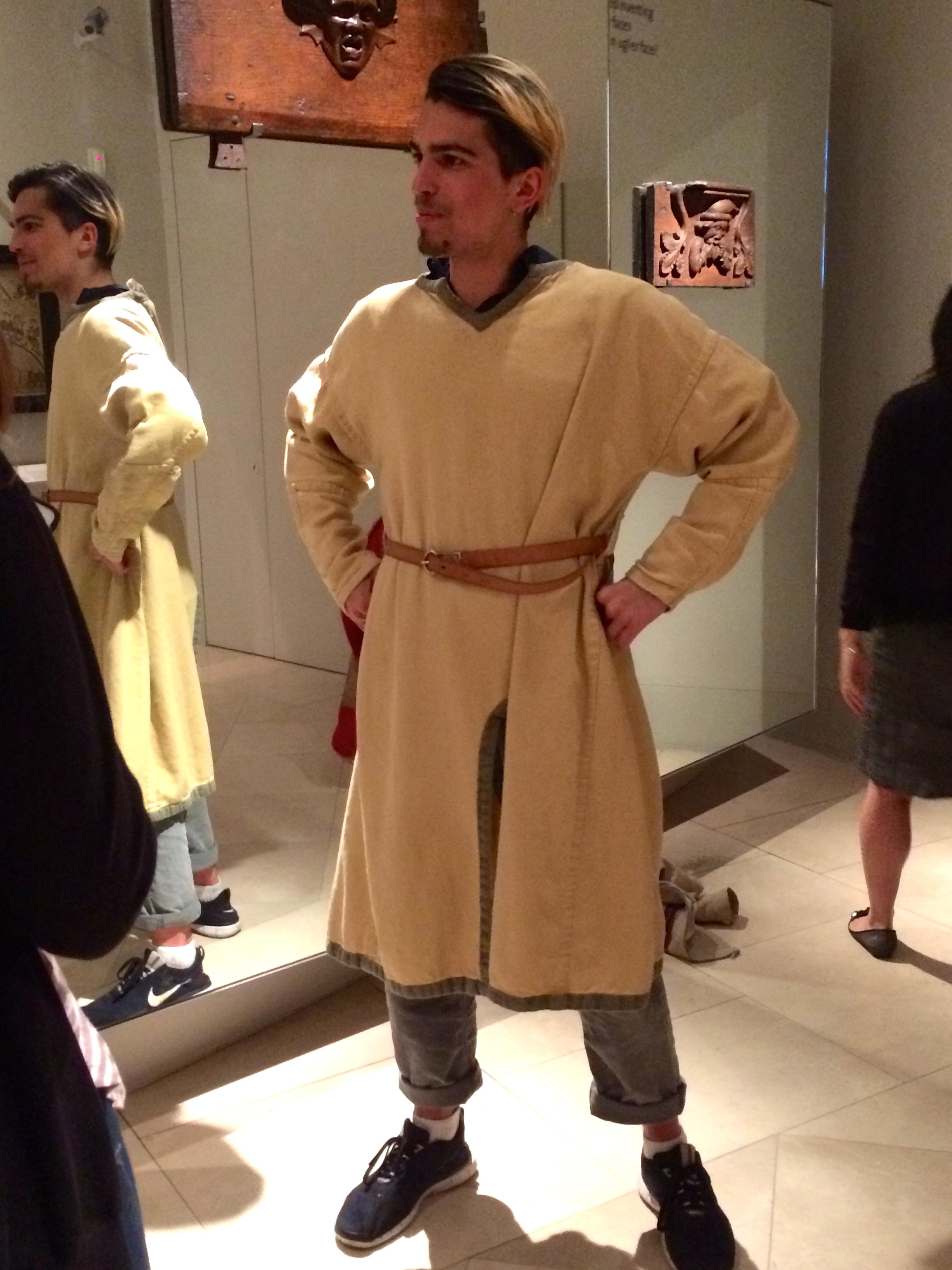 Joe posing in a traditional Renaissance tunic
