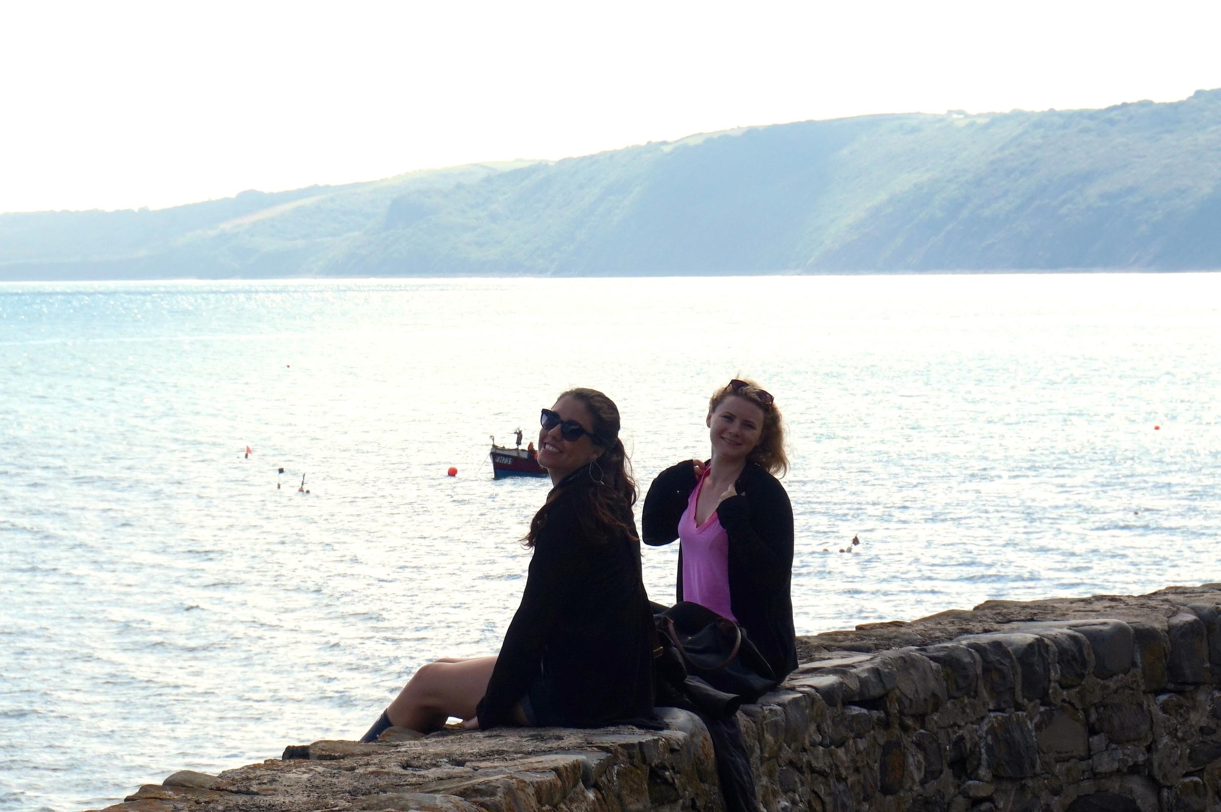 Chloe and Hannah hopped on the ledge