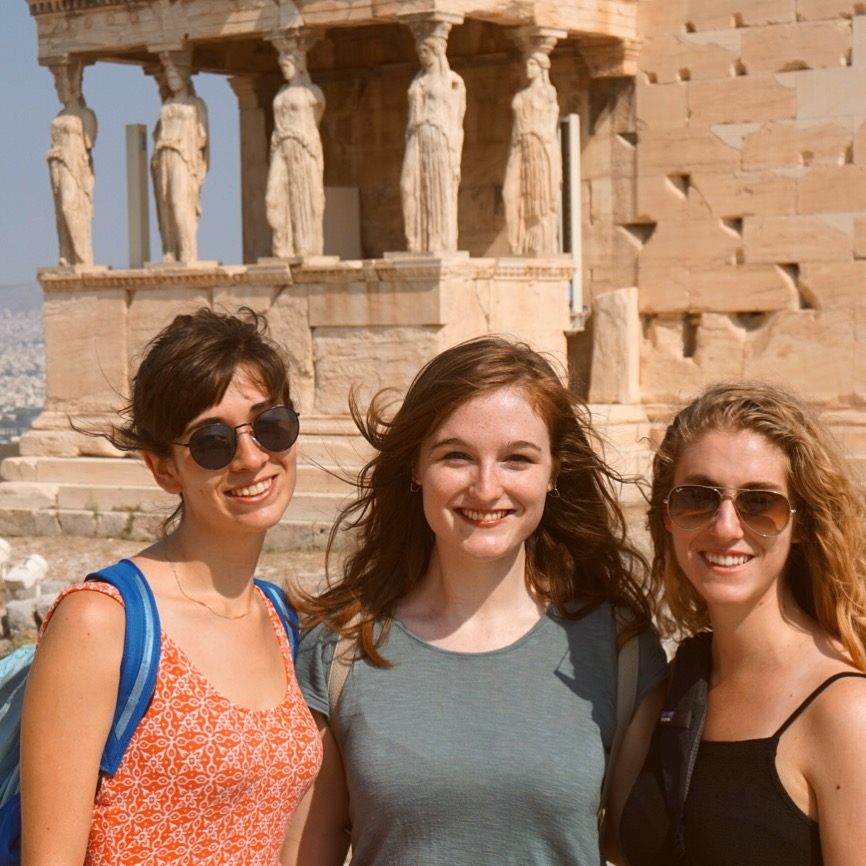 Standing in front of the Porch of the Caryatids.