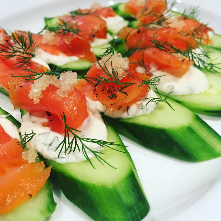 Cured Salmon with Herbed Creme Fraîche on Cucumber