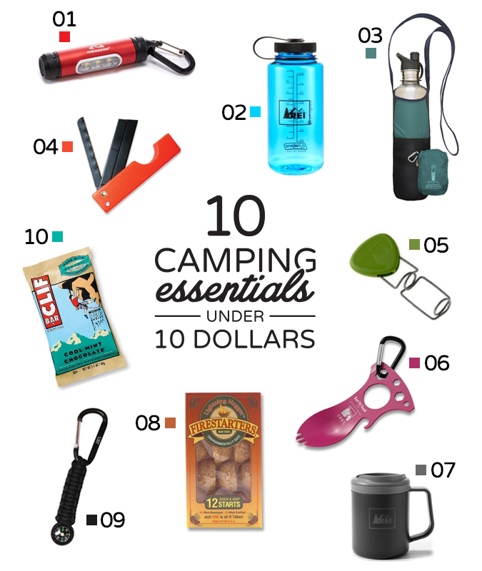 01. Highgear Fuse Micro Lantern 02. REI Nalgene Wide-Mouth Loop-Top Water Bottle 03. Bottle Sling rePETe Limestone 04. Ultimate Survival Technologies Razor Saw Cutting Tool 05. L  ight My Fire Grandpas FireFork Campfire Roasting Accessory 06.  Columbia River Eat'N Tool 07. REI Recycled Camp Mug 08. Lightning Nugget Firestarters 09. Ultimate Survival Technologies Survival Compass Key Chain 10.  Cliff Bar