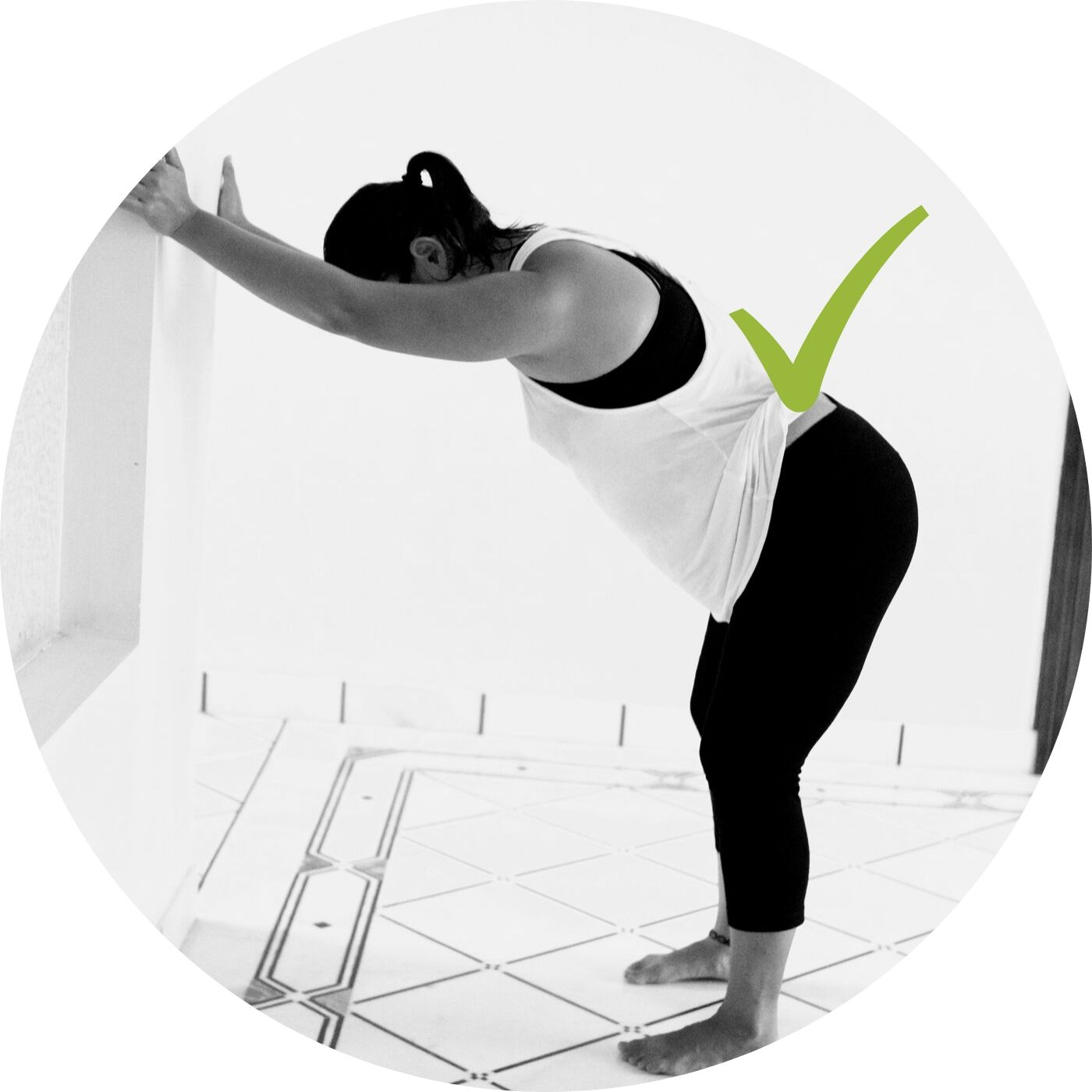 Understanding Neutral Spine at the Wall | Wall Down Dog - Checkpoints:turn hands out, elbows may bendfeet under hips, soft kneespull hips back to your thresholdthink of bringing belly and thighs progressively closer together