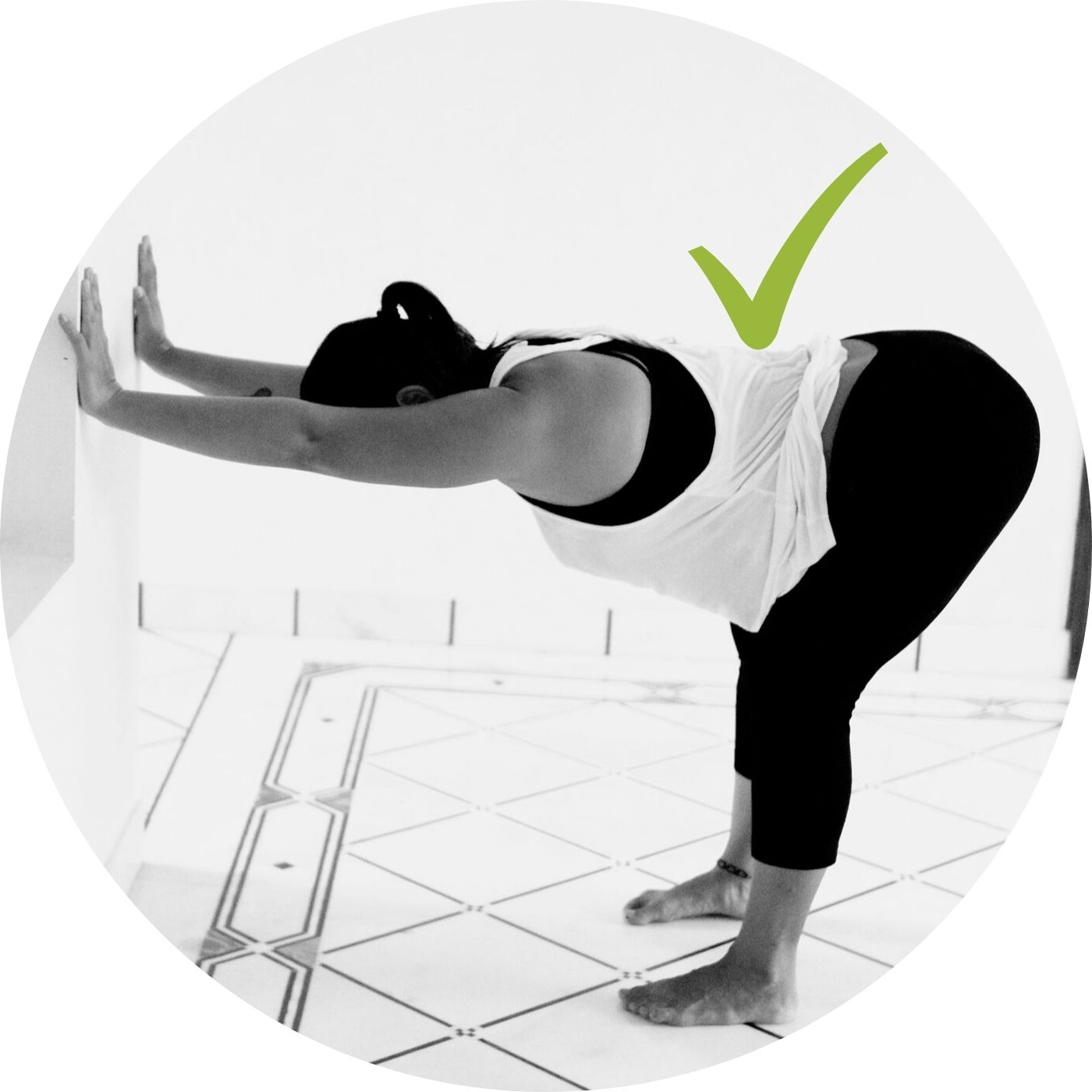Progression of Wall Down Dog | - Checkpoints:push wall upper back is able to go flat. If rounded, do previous posefeet under hips, soft knees- as thighs come closer to belly, pull butt further behind you. It's normal for the low back to twinge. It's ok- breathe at your threshold for 1 min.