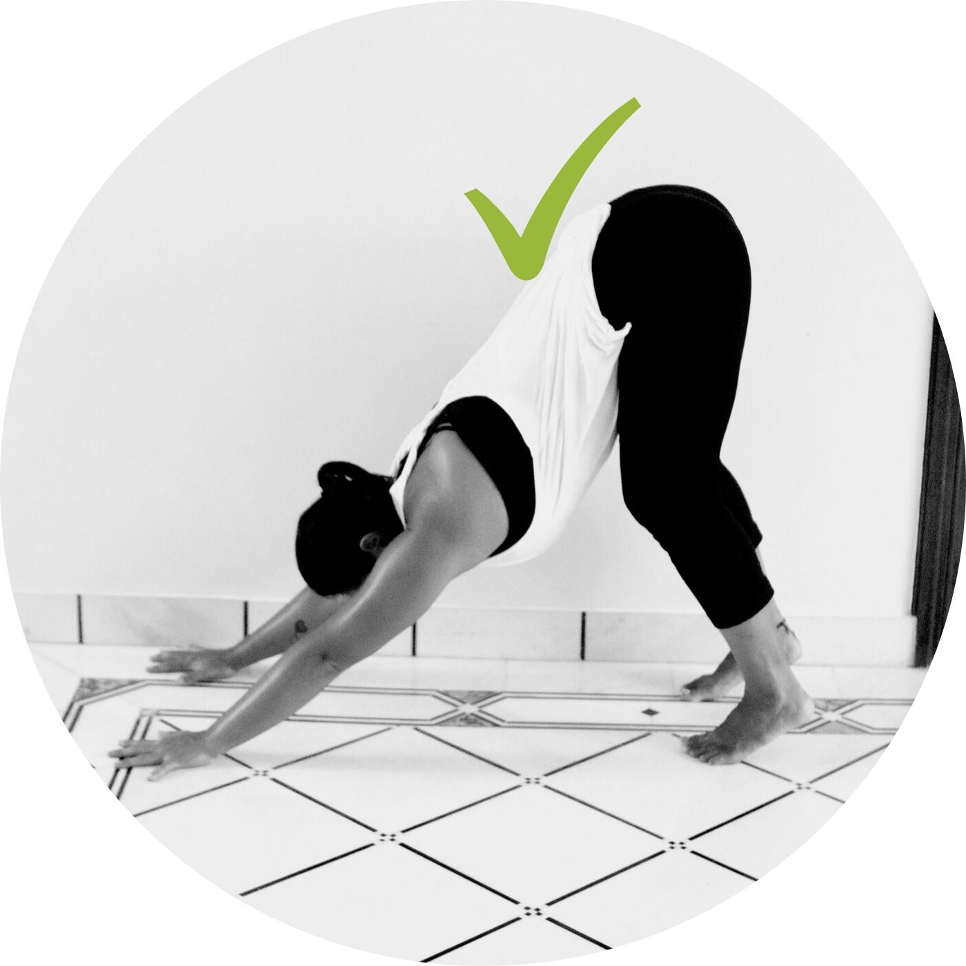 Progressing to Down Dog | - Checkpoints:Keep knees bent.Transition pulling up into Down Dog from the tailbone. You might hit a